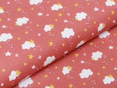 Französische Webware Baumwolle - Sterne und Wolken - dunkles altrosa