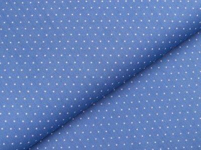 Webware Popeline Baumwolle - mini Punkte - jeansblau