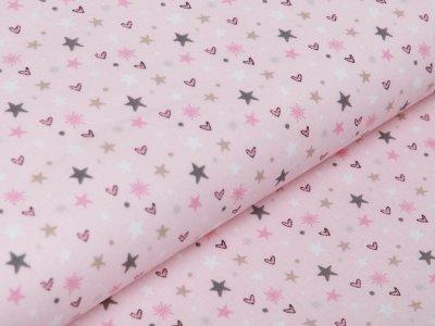 Französische Webware Baumwolle - Sterne und Herzen - rosa