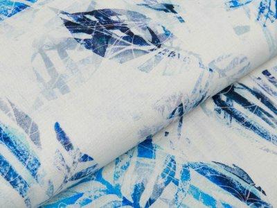 Webware Leinen Digitaldruck - Blätter und Blüten - beige/blau