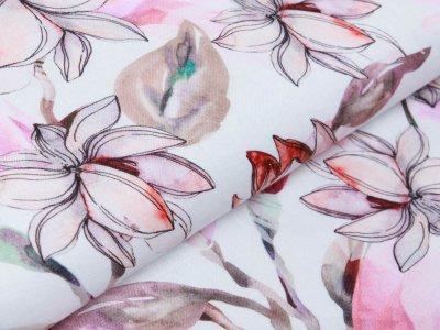 Webware Leinen Digitaldruck - Stielblumen - wollweiß/rosa