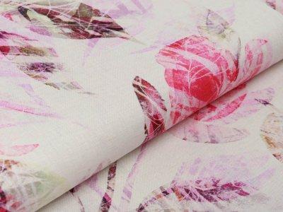 Webware Leinen Digitaldruck - Blätter und Blüten - beige/pink