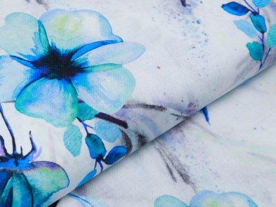 Webware Leinen Digitaldruck - Blüten - wollweiß/blau