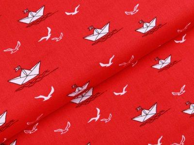 Webware Popeline Baumwolle - Papierboote und Möwen - rot