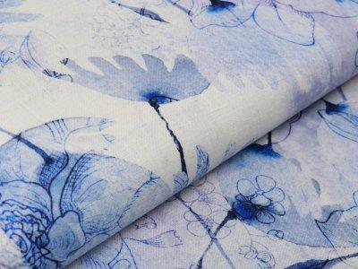 Webware Leinen Digitaldruck - Blüten - beige/blau