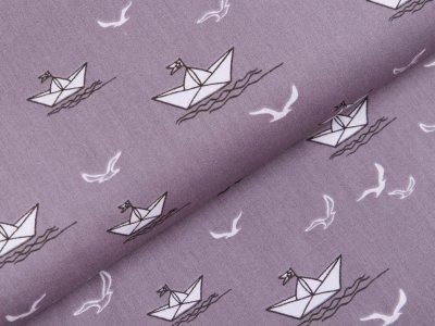 Webware Popeline Baumwolle - Papierboote und Möwen - grau