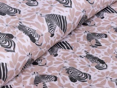 Sweat French Terry - herbstliche Zebras - weiß