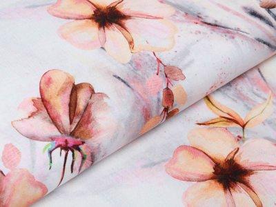 Webware Leinen Digitaldruck - Blüten - wollweiß/lachs