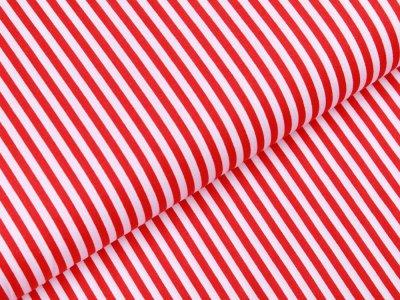 Webware Popeline Baumwolle - Streifen - weiß/rot