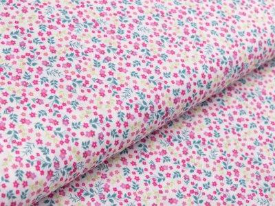 Webware Baumwolle - Blumenwiese - weiß/rosa