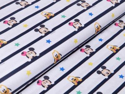 Webware Baumwolle Digitaldruck Disney Mickey Mouse - Mickey und Freunde auf Streifen - weiß