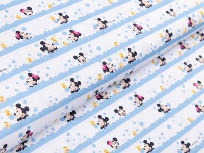 Webware Baumwolle Popeline Disney Mickey Mouse - Mickey und Minni baden - weiß