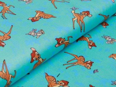 Webware Baumwolle Digitaldruck Disney Bambi - Bambi und Klopfer - mint