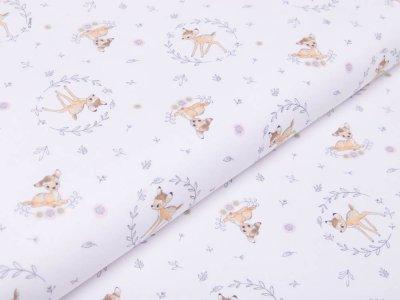 Webware Baumwolle Digitaldruck Disney Bambi - Bambi im Blumenkranz - weiß