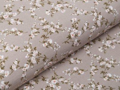 Bengaline Stretch-Stoff - Blumenranken - beige