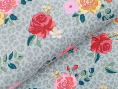 Jersey - Rosen auf Animalprint - pastellmint