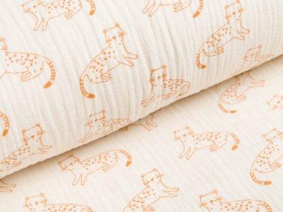 Musselin Baumwolle Double Gauze - kleine Panther - ecru