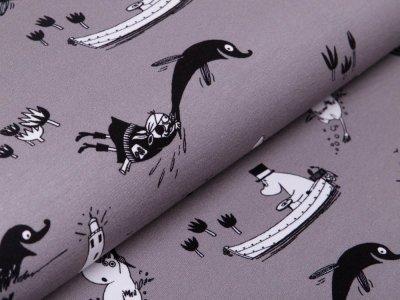 Jersey Digitaldruck Moomin - Moomins auf hoher See - grau