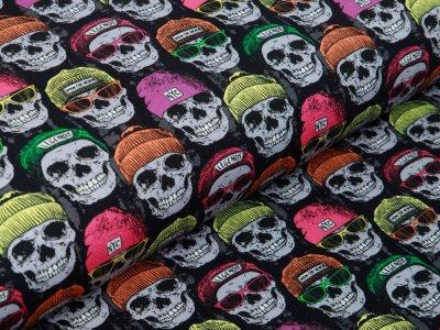 Sweat French Terry - Neon Skulls - schwarz