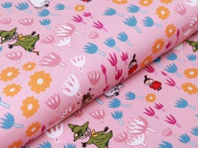 Jersey Digitaldruck Moomin - Moomins und Blumen - rosa