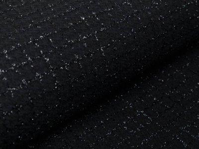 Mantelstoff mit Glitzerfäden - Karo/Vichy - schwarz