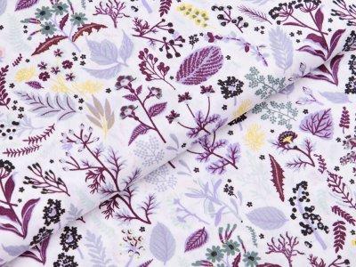 Webware Popeline Baumwolle Organic Cotton - Herbstblätter - weiß/aubergine