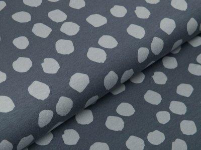 Jersey Viskose - ausgefranste Punkte - grau