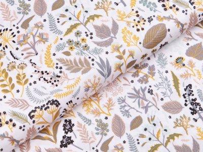 Webware Popeline Baumwolle Organic Cotton - Herbstblätter - weiß/ocker