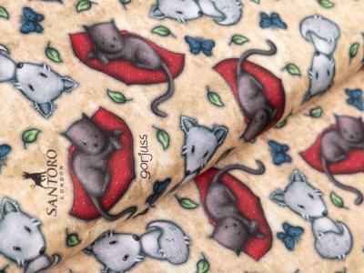 Webware Baumwolle Popeline Swafing My Story  by Santoro Gorjuss - kleine Füchse und Katzen - senf