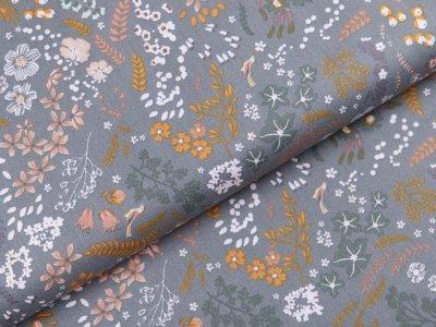 Webware Popeline Baumwolle Organic Cotton - Blumen und Blätter - altgrün