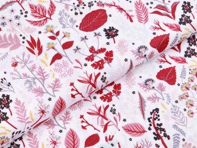 Webware Popeline Baumwolle Organic Cotton - Herbstblätter - weiß/rot