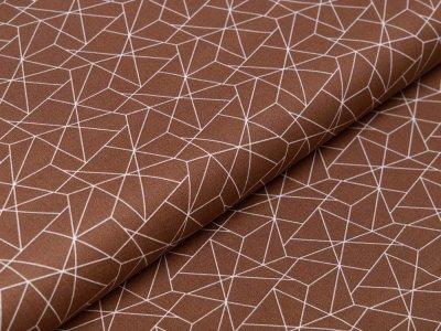 Webware Baumwolle - geometrisches Muster - braun