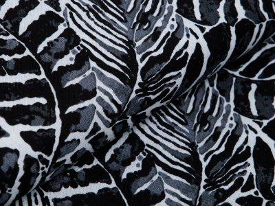 Webware Viskose Halbleinen - Palmenblätter - beige/schwarz