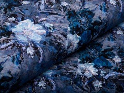 Sweat French Terry Digitaldruck - Blumenbouquet - blau