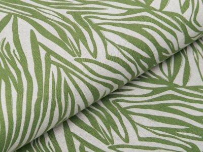 Webware Viskose Halbleinen - Blätterprint - beige/grün