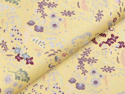 Webware Popeline Baumwolle Organic Cotton - Blumen und Blätter - altgelb