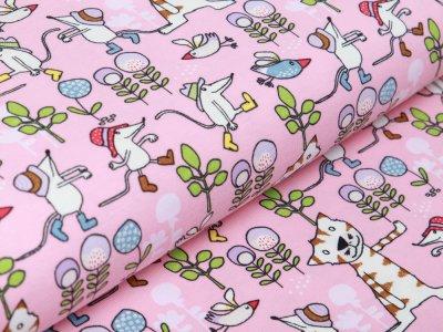 Jersey - Katzen, Vögel und Mäuse - rosa