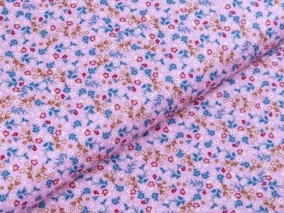 Webware Popeline Baumwolle Organic Cotton - kleine Blumenwiese - flieder