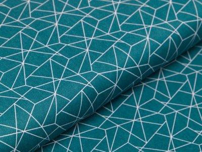 Webware Baumwolle - geometrisches Muster - smaragdgrün