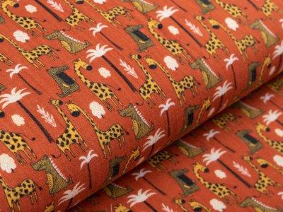 Musselin Baumwolle Hydrofiel Gauze - Giraffen und Krokodile - rost