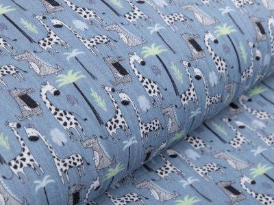 Musselin Baumwolle Hydrofiel Gauze - Giraffen und Krokodile - jeansblau