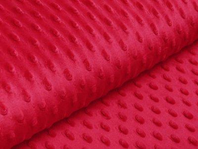 Wellnessfleece Minky mit Noppenprägung - uni rot