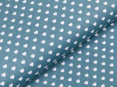 Webware Baumwolle Popeline - Herzen - dunkles mint