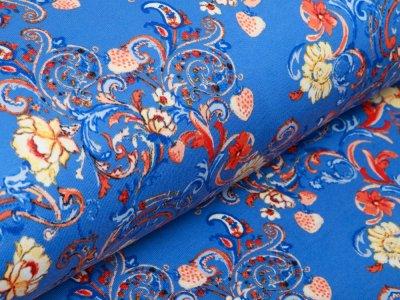 Sweat French Terry by Klaranähta - Blumen-Muster - blau