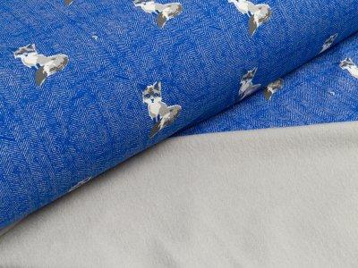 Leicht angerauter Sweat - Füchse - jeansblau