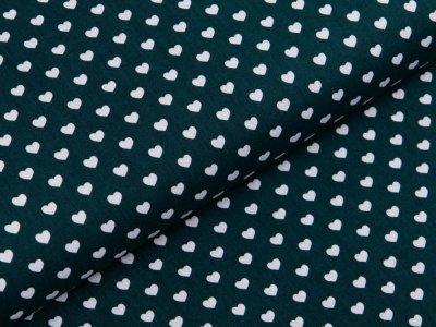 Webware Baumwolle Popeline - Herzen - dunkles grün
