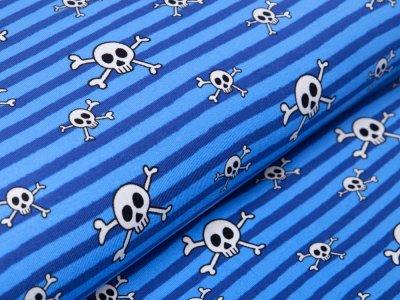 Jersey - Skulls auf Streifen - blau