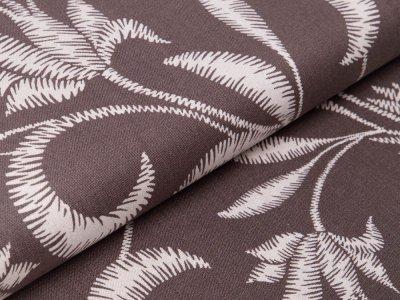 Halbleinen Viskose - Blätter - grau