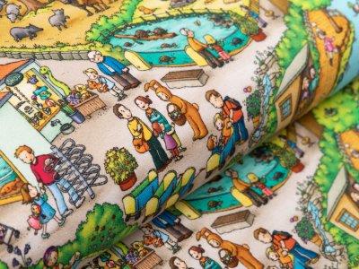 Sweat French Terry Wimmelbuch - Tierpark und Kinder - gelb