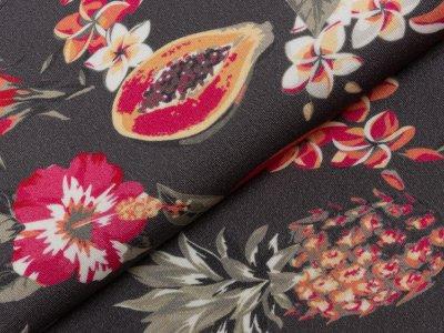 KDS Queen's Collection Kaya - Schwerer Jersey Viskose Polyamid - tropische Blumen und Früchte - grau